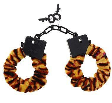 Kajdanki Tygrys wykonane z plastiku obłożone miękki welurowym materiałem. Zabawny prezent na wieczór panieński.
