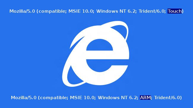 Internet Explorer 10, nuevas cadenas user agent para identificar dispositivos táctiles y arquitectura ARM http://www.genbeta.com/p/70277