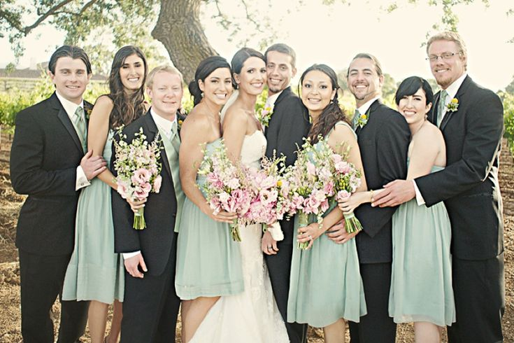 Pink and Mint wedding party // Emily Heizer Photography // via Every Last Detail