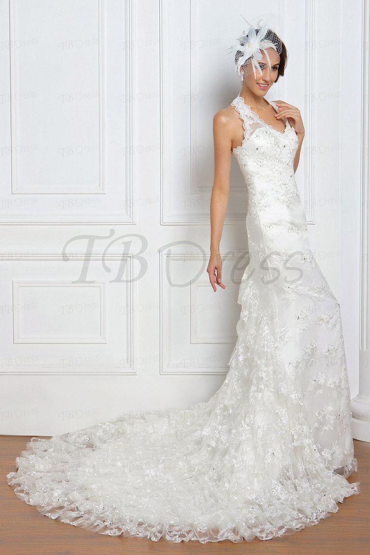 Pretty Trumpet/Mermaid Halter Tiered Chapel  Renata's Wedding Dress