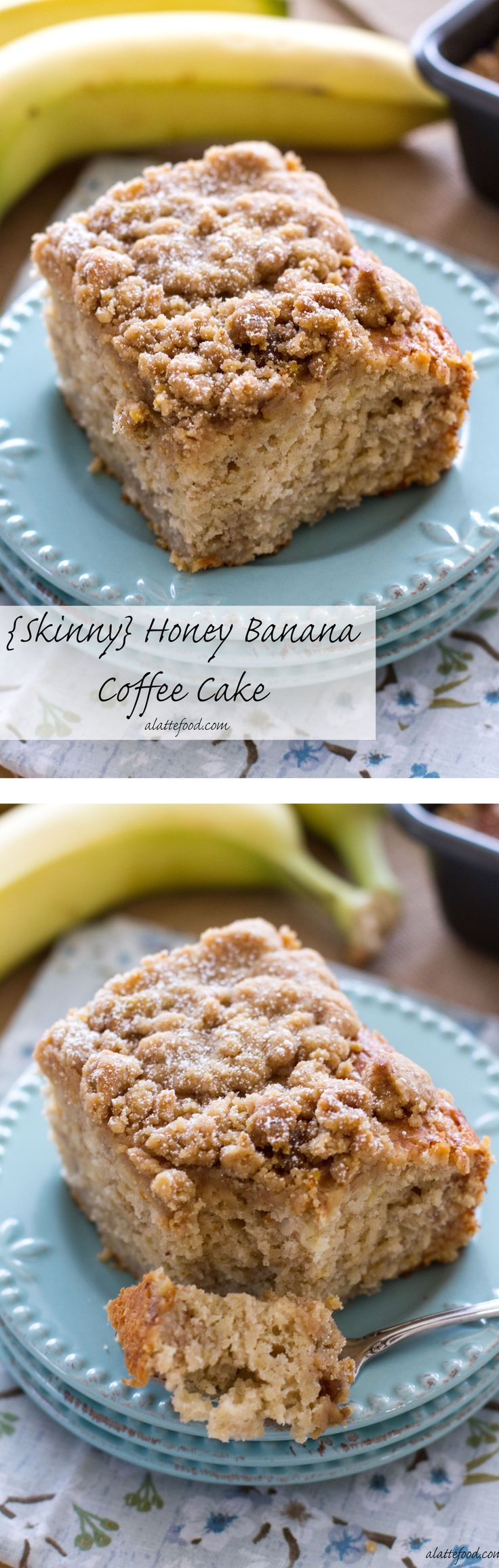 {Skinny} Honey Banana Coffee Cake: This coffee cake has no oil or butter in it, but packed with tons of honey and banana flavor! Eat cake for breakfast.    www.alattefood.com