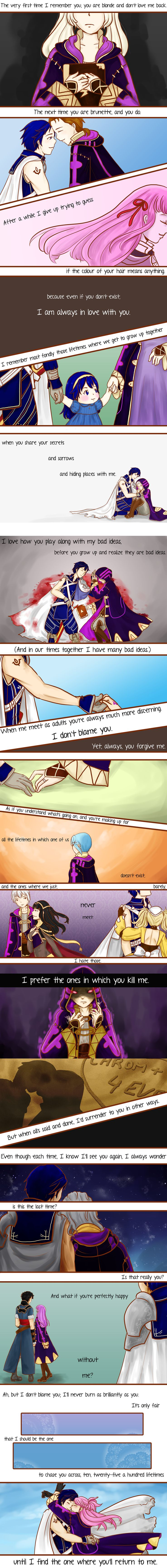 What a clever way to view new save files... Oh, the feels! (Don't worry, Chrom, I'll always choose you.)  25 Lives -Fire Emblem- by sirenlovesyou on DeviantArt