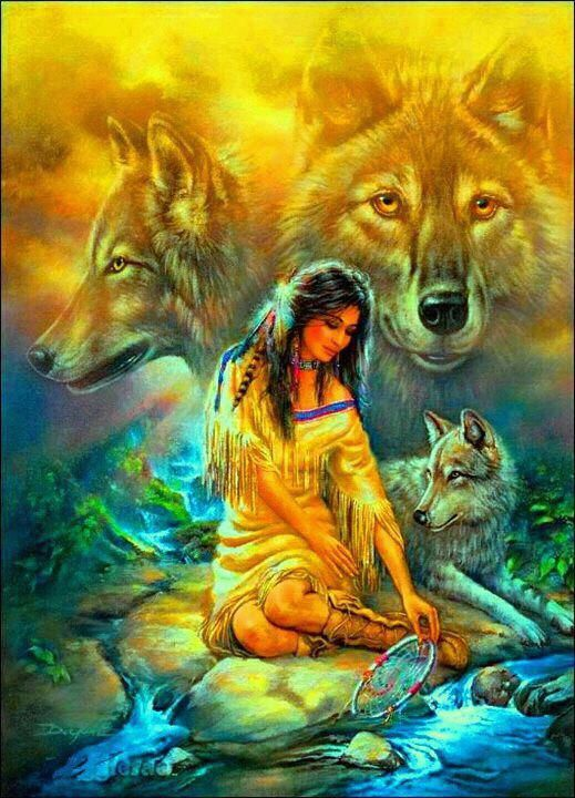 Native American woman and wolves