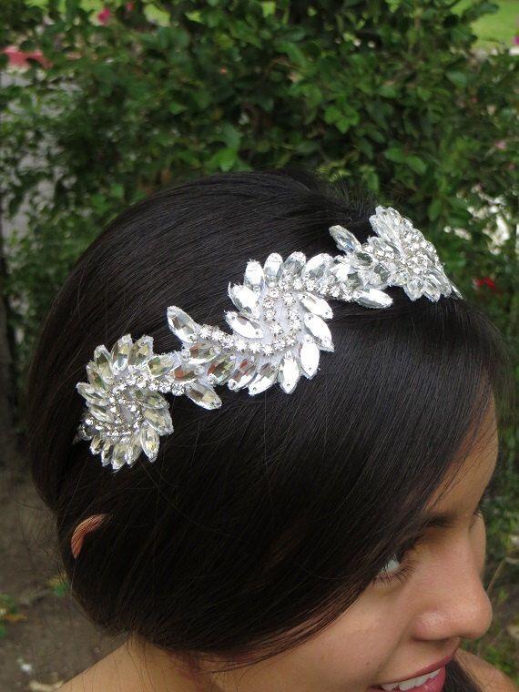 Art Deco Headpiece, Modern Vintage Headpiece, Bridal Headpiece,  Rhinestone Tiara, Crystal headpiece, Tiara  - ALEXIS  Headband by BridalAndBeyond on Etsy https://www.etsy.com/listing/193052409/art-deco-headpiece-modern-vintage