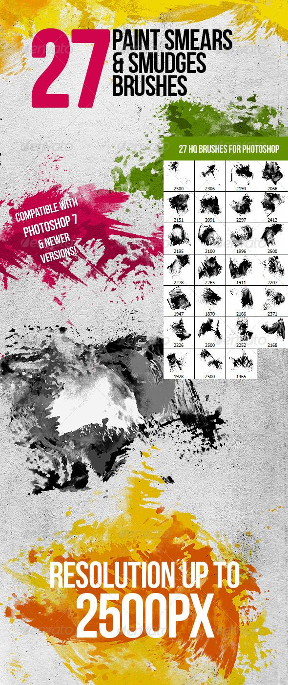 27 Paint Smears & Smudges Photoshop Brushes #GraphicRiver 27 high resolution smears, smudges & trails from paint brushes (resolution up to 2500px) for Adobe Photoshop. Pack is compatible with Photoshop 7 & newer versions. It is a collection for modern, artistic designs with various painted dirts, grungy style watercolor & other trails from paint. You can reach realistic effects using different Blending Modes in Photoshop. Great for making: t-shirt designs, modern website templates…