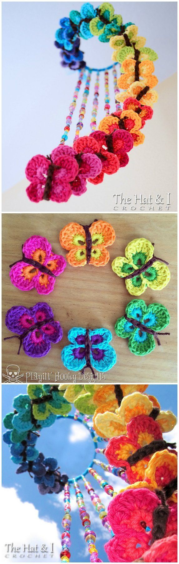 Glorious Bountiful Butterflies mobile. Free crochet pattern for the butterflies, then string them from an embroidery hoop with some beaded lines.