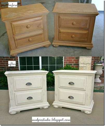 I m leaning toward white furniture with dark handles  Leaving dark stained  painted top  Need mismatched night stands  Maybe paint bookcase dark. Best 25  Refinished nightstand ideas on Pinterest   Refurbished