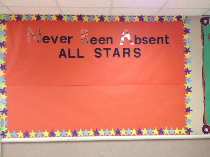 Board for Perfect attendance. Made by Staff at Miami Elementary School.