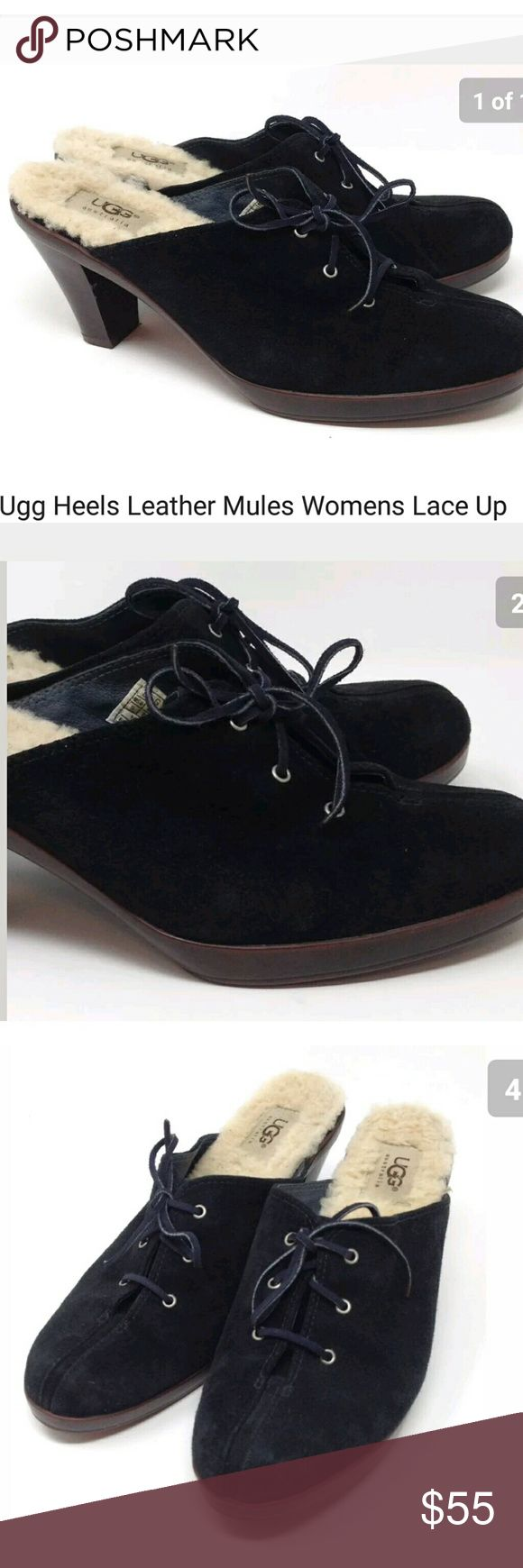 "Ugg Heels Suede Leather Mules US 9 / EU 40 Ugg Heels Suede Leather Mules Womens Lace Up Slip On Casual Shoes Size US 9 / EU 40 / UK 7.5 - Preowned excellent condition, barely used.  Type: Shoes Style: Leather 3"" Block Heels Mules Lace Up Slip On Casual Shoes  Brand: Ugg Australia Size: US 9 / EU 40 / UK 7.5 Material: Suede Leather Uppers / Wool Shearling Insoles / Manmade Soles  Color: Black Condition: Excellent Preowned Condition, Barely Used  Country of Manufacturer: China Stock Number…"