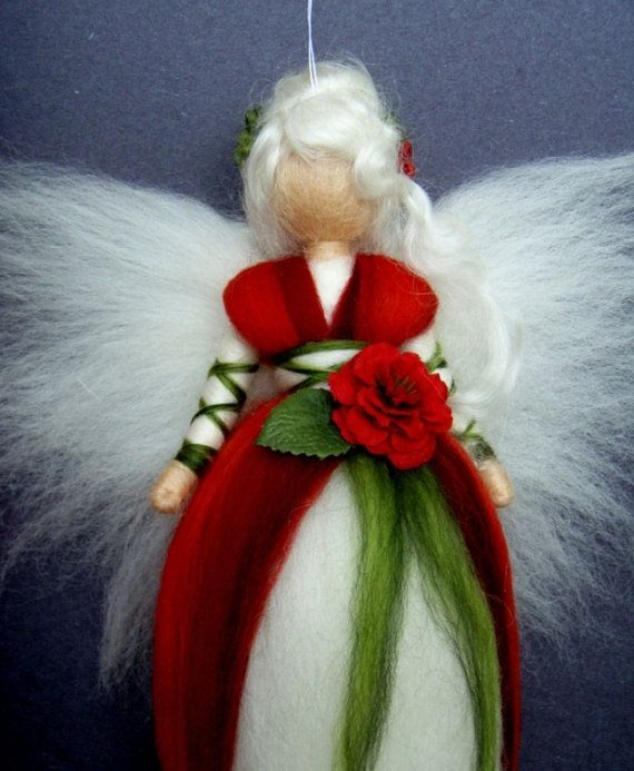 RED ROSE Fairy Needle Felted Wool Doll Angel by Holichsmir