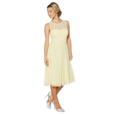 Debut Pale yellow floral embroidered waist midi dress- at Debenhams.com