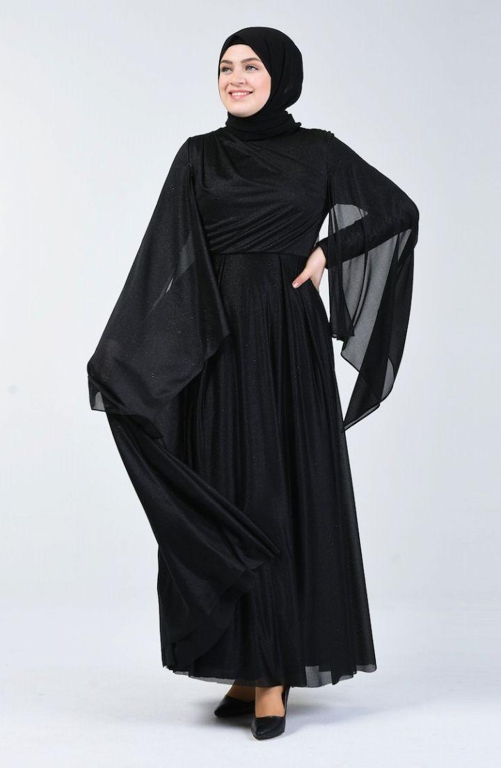 Sefamerve Buyuk Beden Simli Abiye Elbise 1012 02 Siyah 2020 Elbise Elbise Modelleri Siyah