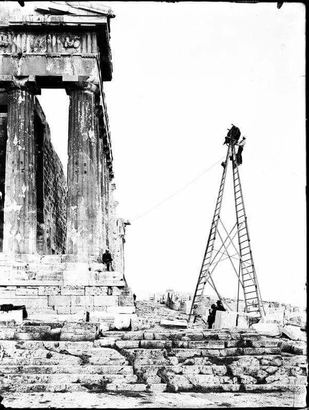 1907 - Frederick Boissonas photographing the Parthenon