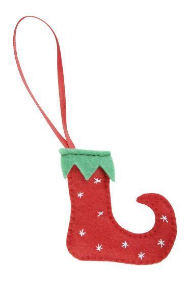 Calcetín de Navidad de fieltro rojo y verde