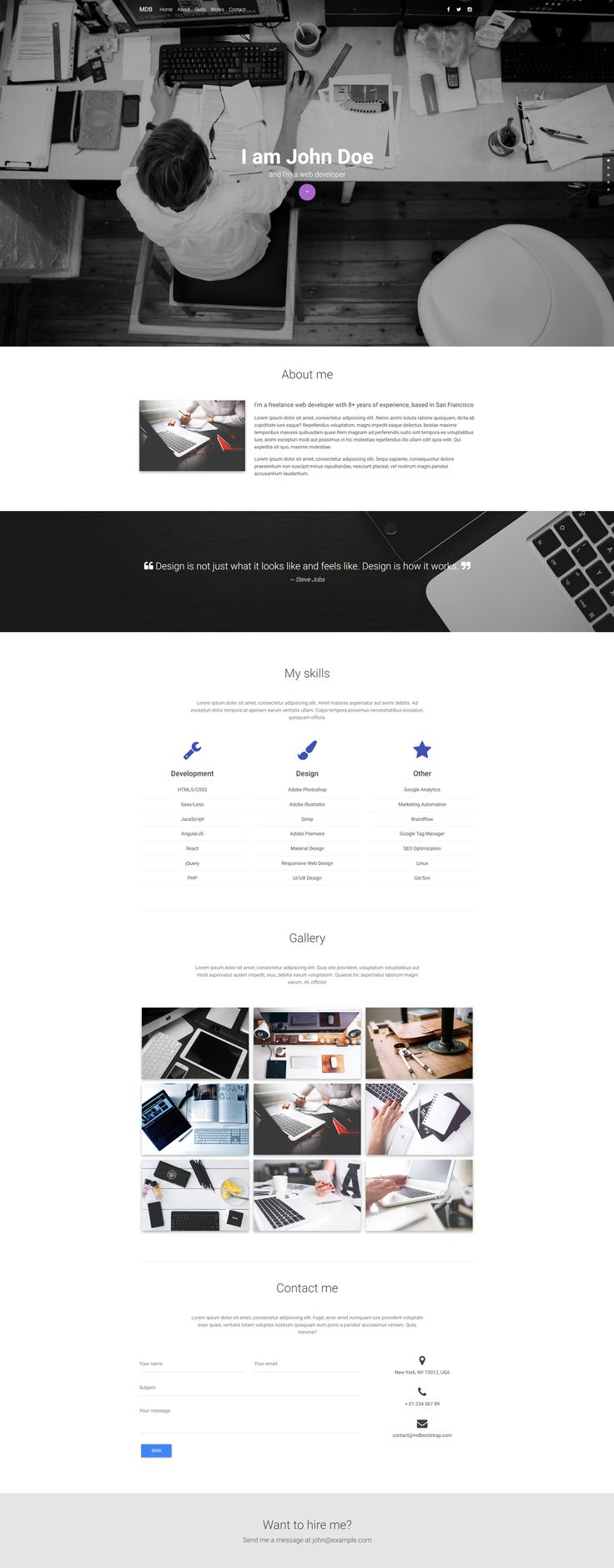 Web Developer Portfolio template created with Material Design for Bootstrap