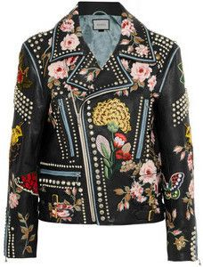 Embellished Genuine Leather Biker Jacket