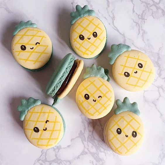 Pineapple macarons, with face! | Cute baking, Cute ...