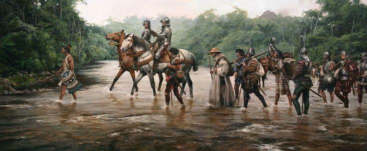 La última obra del maestro Ferrer-Dalmau: Tras hundir sus naves, Hernán Cortés se dirige a la conquista de Tenochtitlan. Más en www.elgrancapitan.org/foro