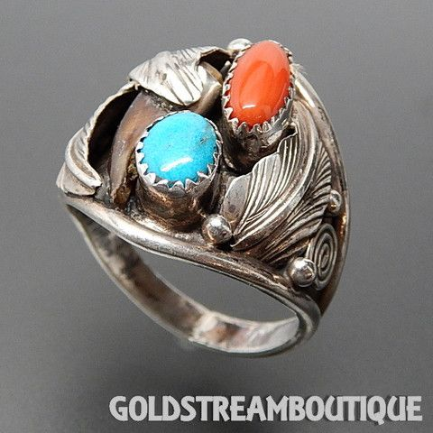 SILVER ROY NAVAJO NATIVE AMERICAN STERLING SILVER CORAL TURQUOISE & BE – Gold Stream Boutique