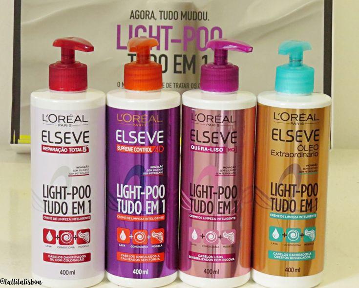 Light Poo Elseve o creme de limpeza capilar brasileiro. no poo, loo poo produtos nacionais. elseve sem sulfato, shampoo sem sulfato, shampoo sem petrolato. lavar o cabelo sem danificar