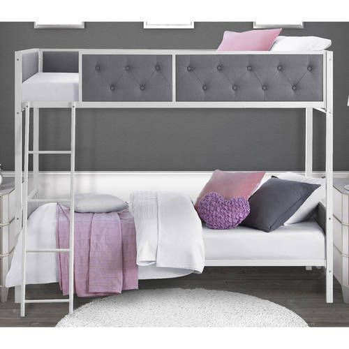 twin bunk beds over twin tufted white metal frame ladder kids bedroom