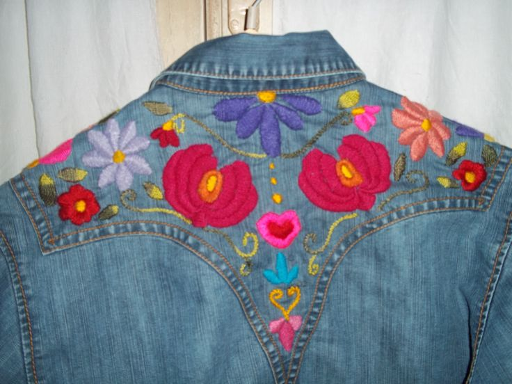camisa de jean bordada con lana