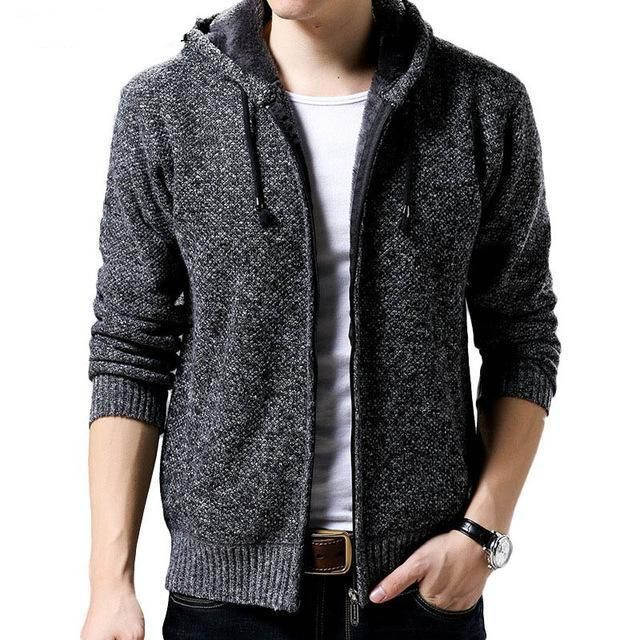 Mens Knitted Hooded Zip Cardigan Thick Jumper Jacket Wool Grey Warm Winter
