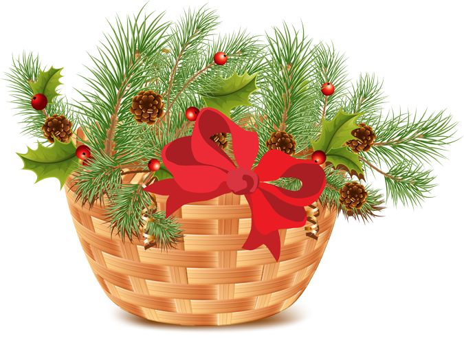 Clip Art Christmas Basket : Christmas basket with pine and cones clip art