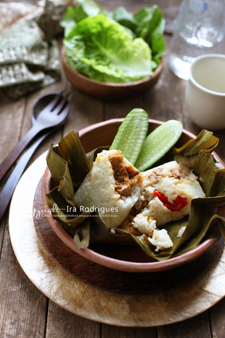 Indonesian Food. Arem-Arem. Coconut Rice Filling wrapped in Banana Leaves.