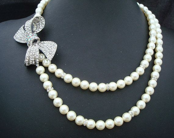 Pearl Necklace with BowBridal Rhinestone by DivineJewel on Etsy