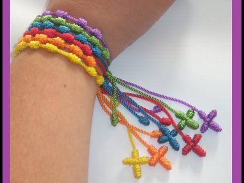 Pulseras de nudos franciscanos y perlas Tutorial de manillas en español como hacer pulseras - YouTube