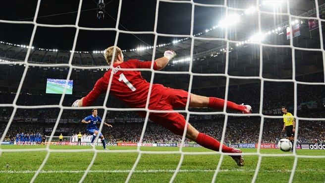 Alessandro Diamanti (Italy)  Alessandro Diamanti of Italy scores the winning penalty past Joe Hart of England in the penalty shoot-out in their UEFA EURO 2012 quarter-final match