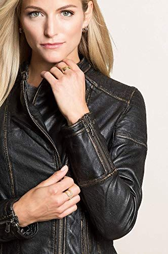 5fc020ae404 Overland Sheepskin Co Chelsea Lambskin Leather Moto Jacket at Amazon  Women's Coats Shop by E9
