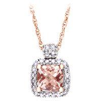 Morganite and Diamond Pendant in 10K Rose Gold