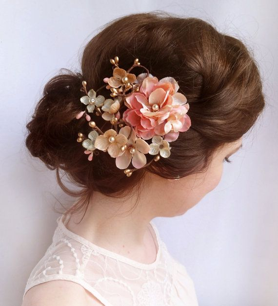 wedding hair clip coral pink bridal flower by thehoneycomb on Etsy, $95.00