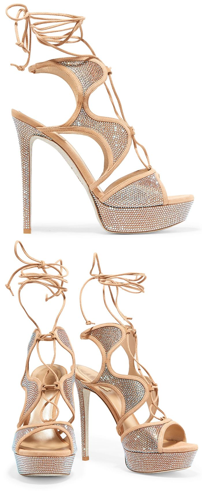 Nude Crystal Party Shoes. RENE' CAOVILLA Crystal-embellished lace, suede high he… – Mode