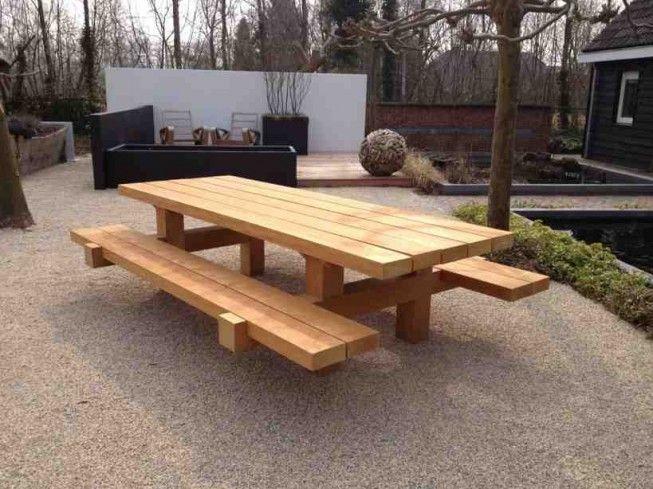 Stoere picknicktafel van Zwaartafelen
