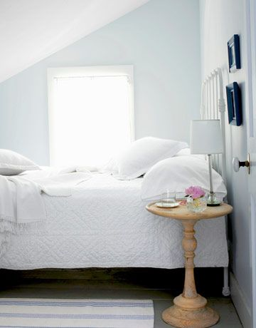 "Sherwin-Williams ""Mountain Air""Wall Colors, Bedrooms Makeovers, Attic Bedrooms, Cottages Bedrooms, Country Living, Master Bedrooms, White Bedrooms, Mountain Air, Painting Colors"
