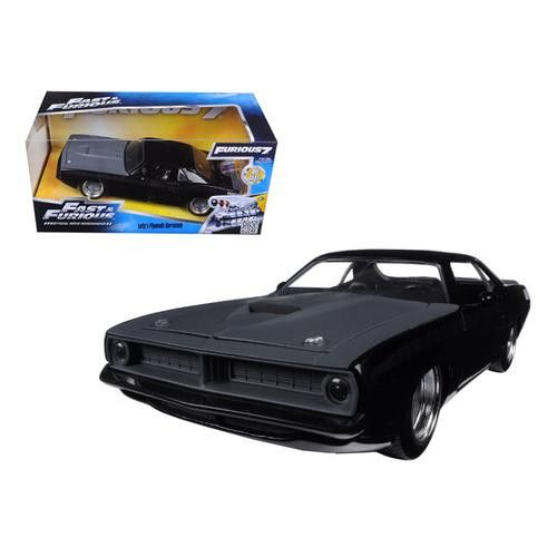 "Letty's Plymouth Barracuda Matt Black ""Fast & Furious 7"" Movie 1/24 Diecast Model Car by Jada"