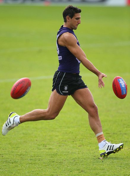 Matthew Pavlich of the Dockers practices goal kicking during a Fremantle Dockers AFL training session at Fremantle Oval on September 3, 2013 in Fremantle, Australia.