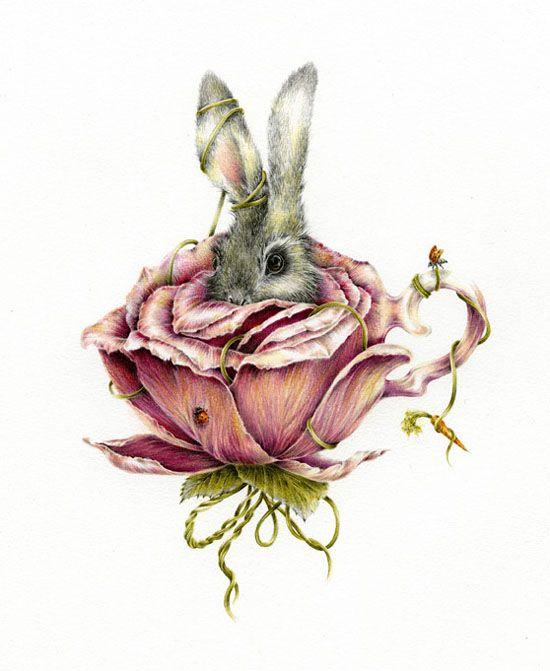 Rose Rabbit Sm | Courtney Brims Limited edition print