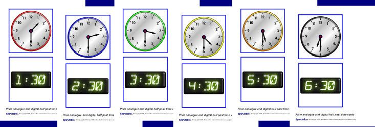 Analogue & digital half-past time Pixie robot cards (SB2235) - SparkleBox