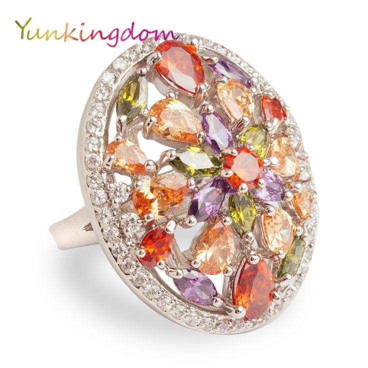 Yunkingdom 2017 new colourful zircon big rings for women  fashion Jewelry rings anillos mujer