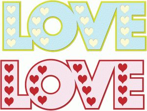 Silhouette Design Store - View Design #74736: love word with hearts