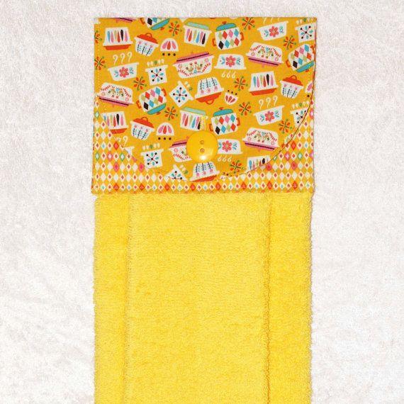 Kitchen Hand Towel • Hanging Dish Towel • Hanging Bath Towel • Plush Yellow Towel • Vintage Pyrex Farbic • Pink Yellow Aqua