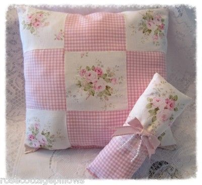 Shabby Cottage Chic Patchwork Home Decor Pillow ~ Pink Roses ~ Mary Rose