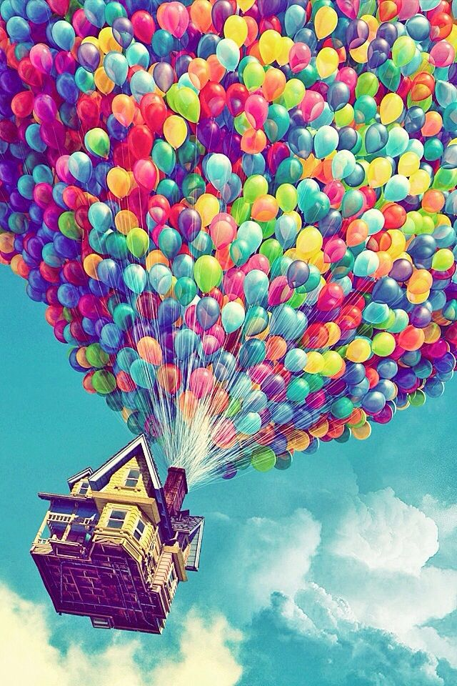 Disney Up~rainbow balloons~iPhone backround