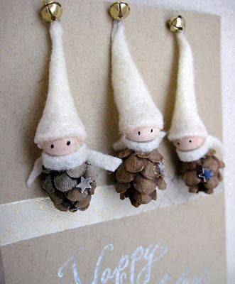 Pine-cone and felt elves - cute ornament idea