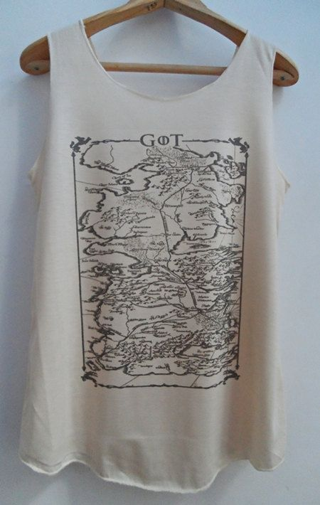 Game of Thrones Map Shirts Map of Westero Tank top Pop Punk Rock Tank Top Vest Women T shirt lady T-Shirt Size S,M,L on Etsy, $16.34 CAD