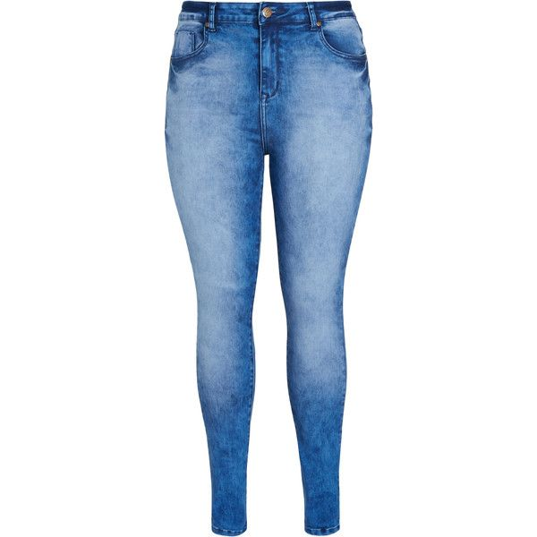 City Chic Bluebaby Apple Skinny Jean ($53) ❤ liked on Polyvore featuring jeans, pants, bottoms, tapered denim jeans, denim jeans, blue denim jeans, blue jeans and blue acid wash jeans